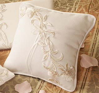 Embroidered Lily Design Wedding Ring Bearer Pillow
