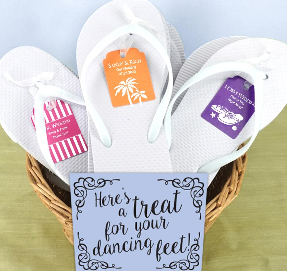 White Guest Flip Flops | bulk flip flops for wedding