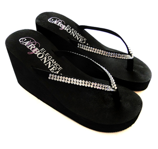 bde32112685 Crystals High Wedge Bridal Flip Flops - Black