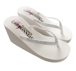 Crystals High Wedge Bridal Flip Flops Ivory