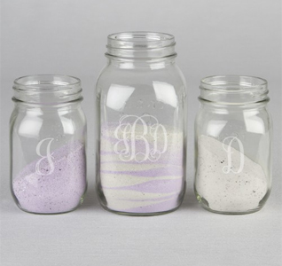 Monogram Sand Ceremony Mason Jar Set
