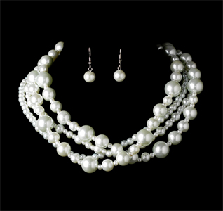 Multi Strand Pearl Wedding Necklace Earring Set
