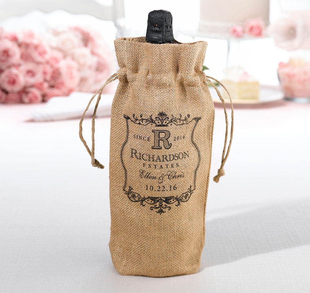 Vineyard Burlap Wine Bag Personalized