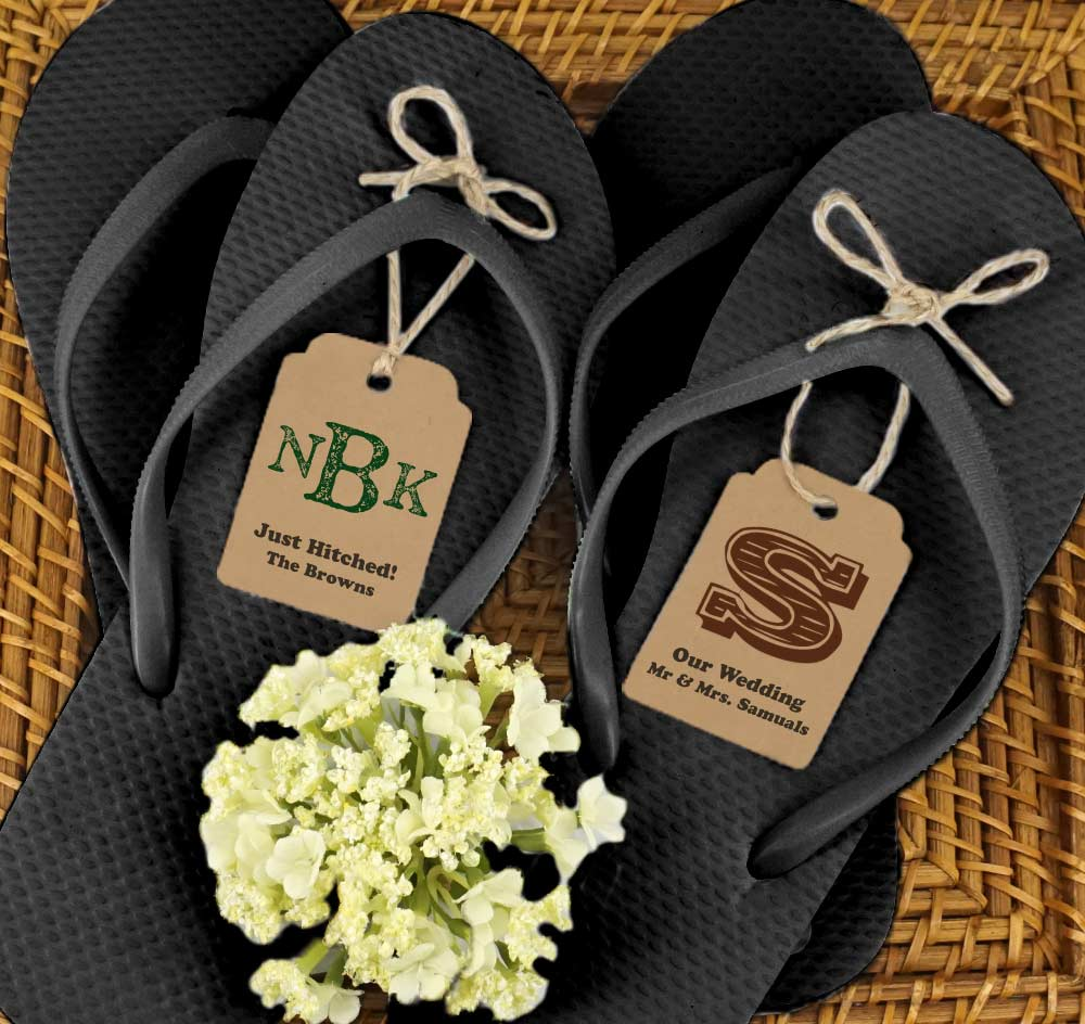 b017416f7db5eb ... Black Guest Flip Flops w Kraft Monogram Tags (Set of 6) pretty nice  f69df  100Pcs Customized Wedding ...