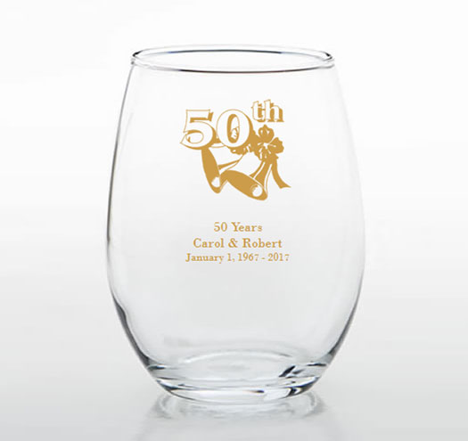 50th Anniversary Personalized Stemless Glasses 50th Anniversary Favors