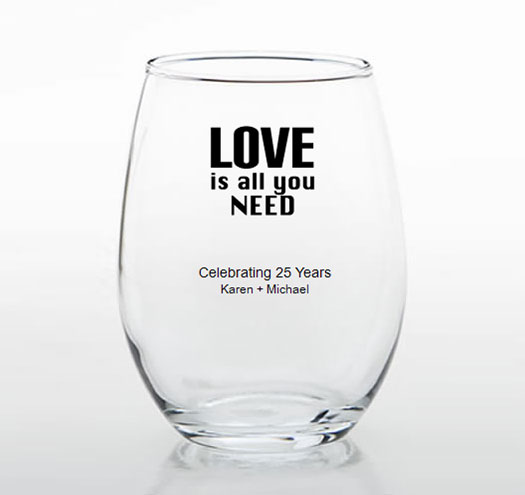 25th anniversary personalized stemless glasses 25th anniversary favors