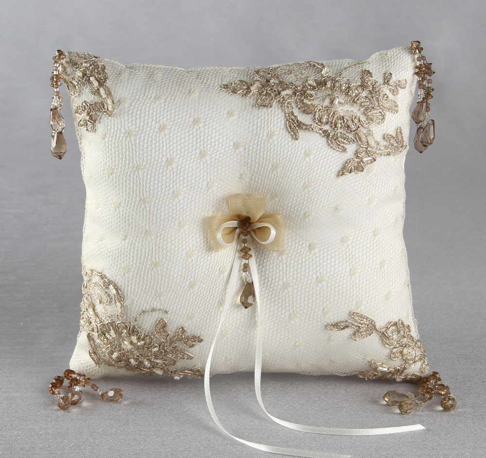 and off ring pearl silk wedding white pillow raw bearer