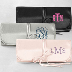 Embroidered Jewelry Roll with Monogram