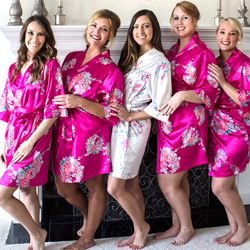 Custom Floral Satin Robe