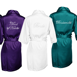Bride Satin Robe - Rhinestone Color