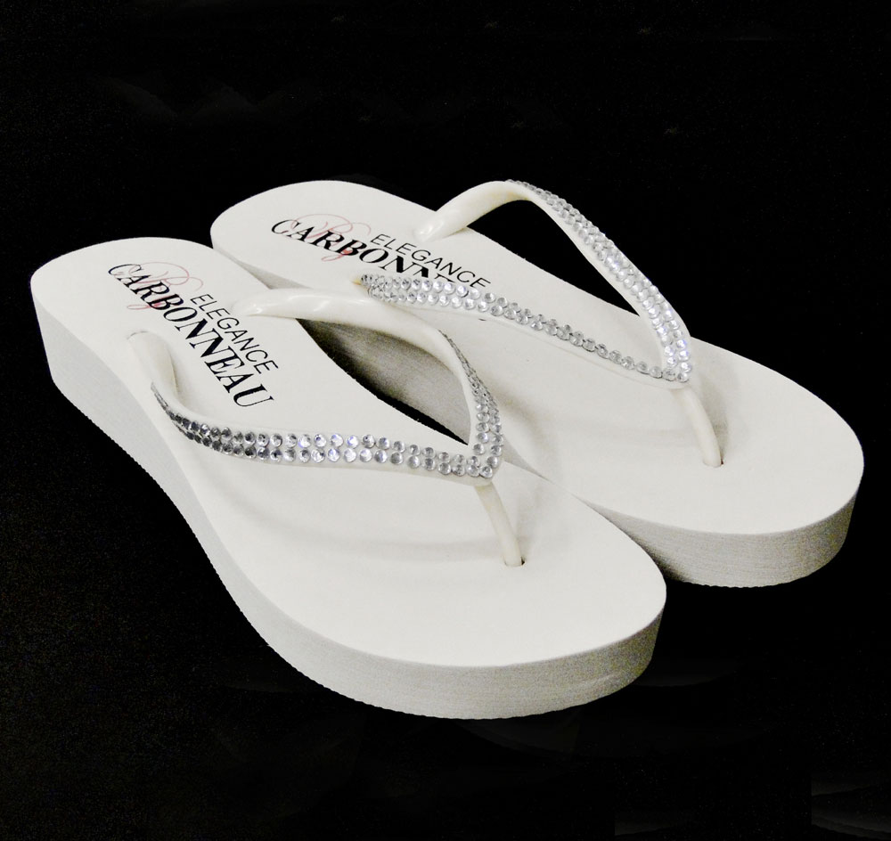 Crystal Low Wedge Bridal Flip Flops White
