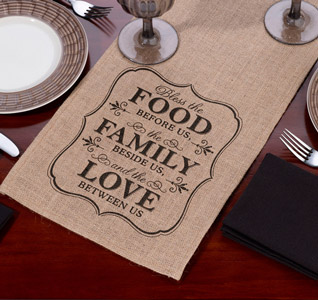 Burlap Table Runner Food Family