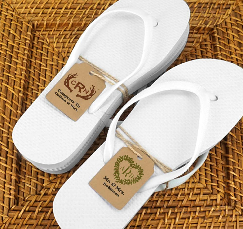 0e446946b46ddd White Guest Flip Flops w  Kraft Monogram Tags (Set of 6)