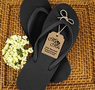 c552151367a9a3 Black Guest Flip Flops w  Kraft Tags (Set of 6)