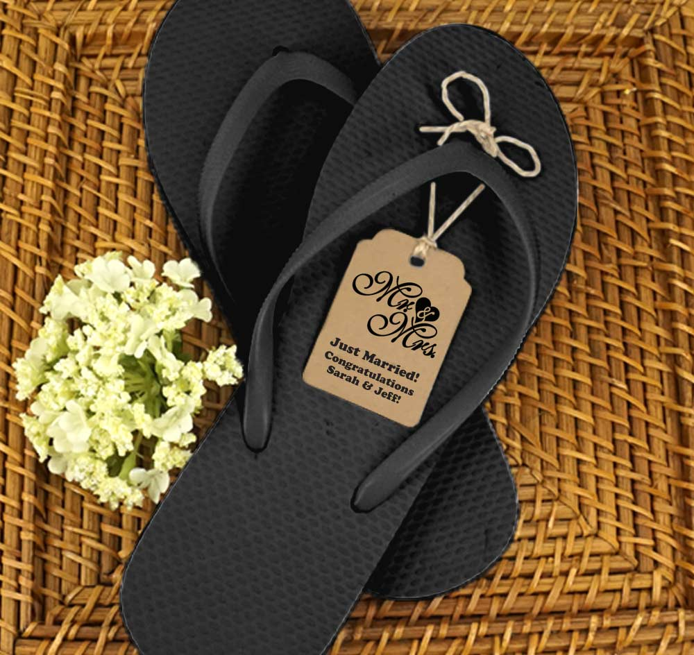 e2327837852184 Black Guest Flip Flops w  Kraft Tags (Set of 6). More Images.  Personalization Options