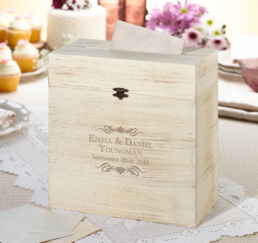 Personalized Wooden Rustic Wedding Card Box Vintage Wedding Card Box